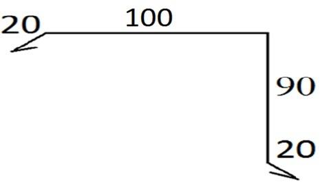 Планка ветровая (торцевая) 120x110х2000