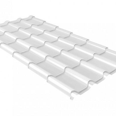 Металлочерепица Монтеррей 0.45 мм Полиэстер RAL 9003 (Белый)